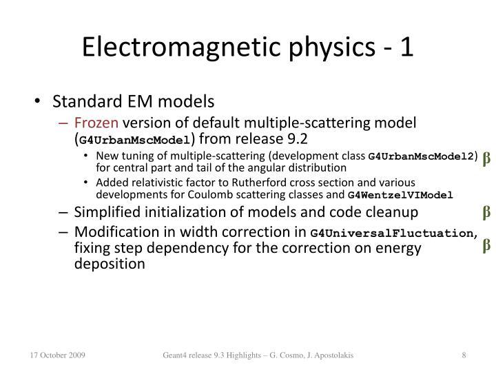 Electromagnetic physics - 1
