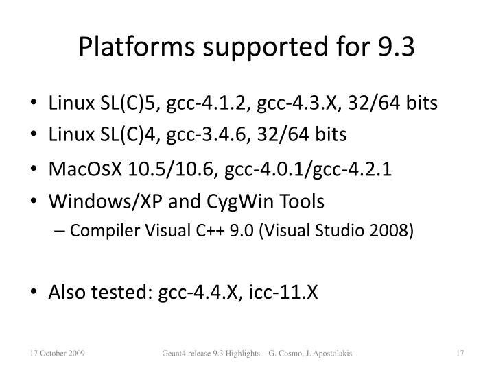 Platforms supported for 9.3