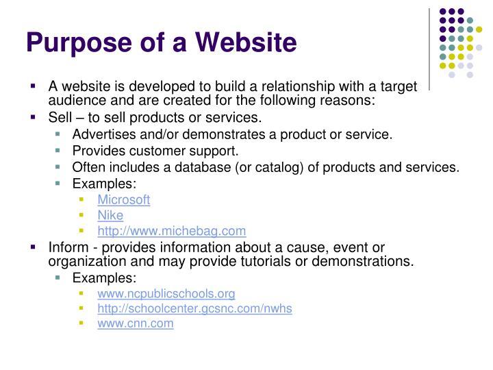 Purpose of a Website
