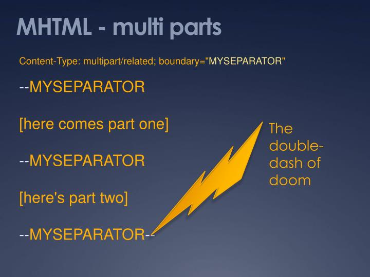 MHTML - multi parts