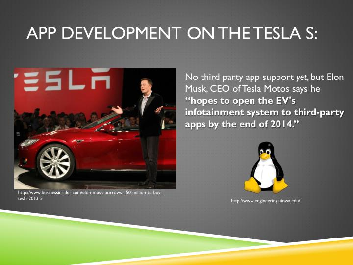 App development on the tesla s: