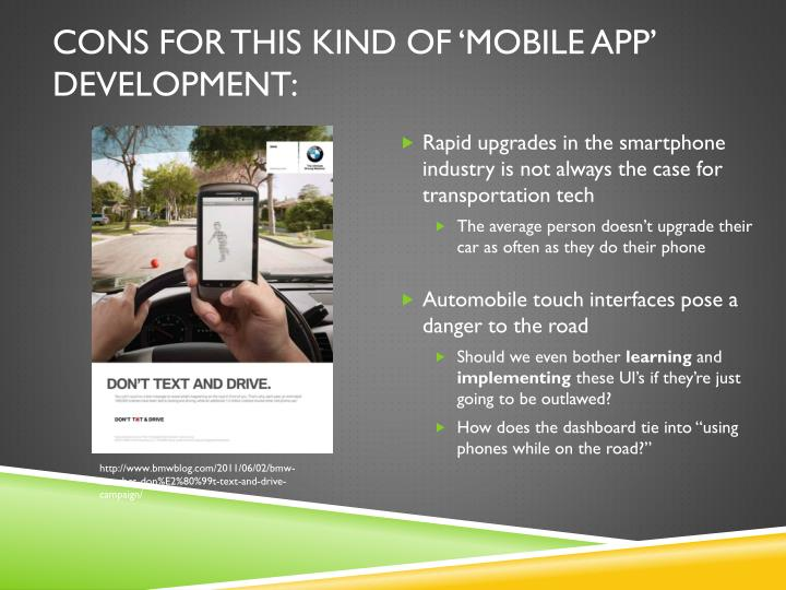 CONS for this kind of 'mobile app' development: