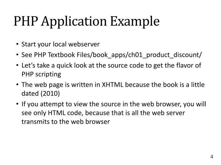 PHP Application Example