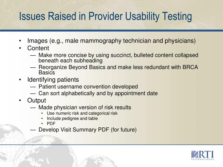 Issues Raised in Provider Usability Testing
