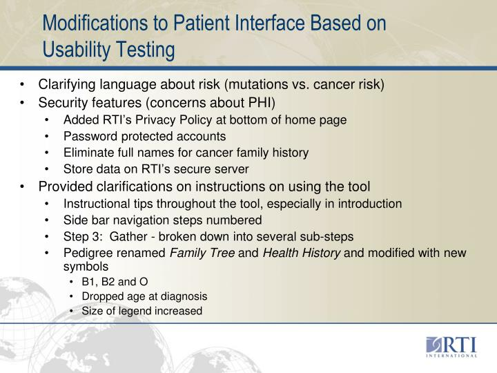 Modifications to Patient Interface Based on Usability Testing