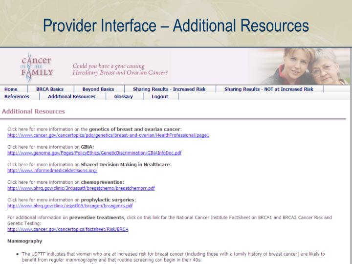Provider Interface – Additional Resources
