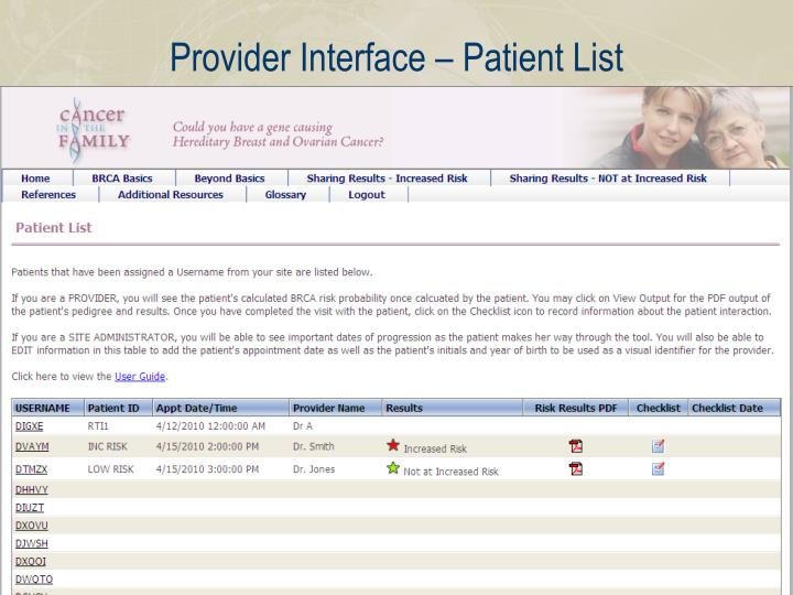 Provider Interface – Patient List