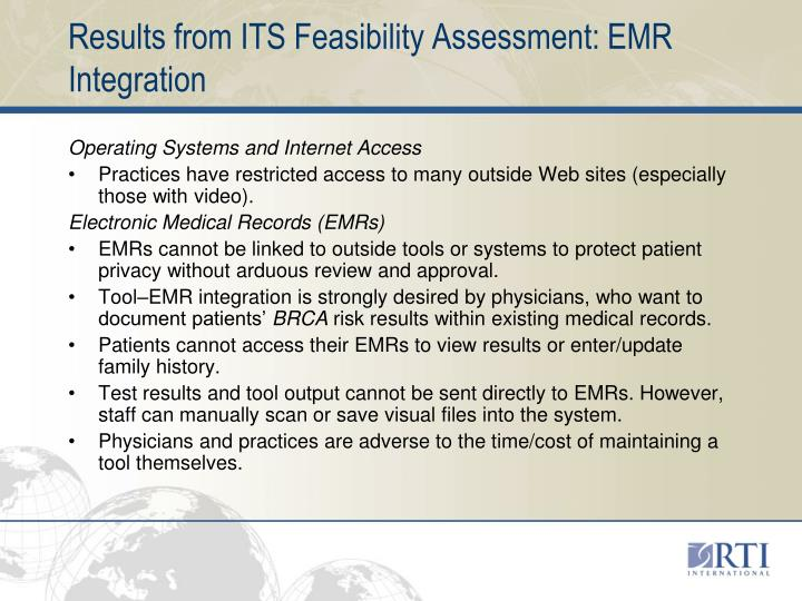 Results from ITS Feasibility Assessment: EMR Integration