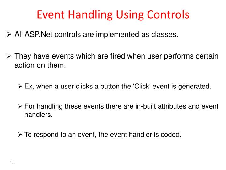 Event Handling Using Controls