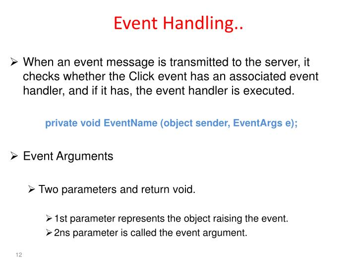 Event Handling..