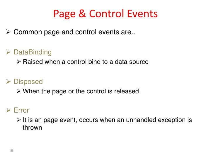 Page & Control Events