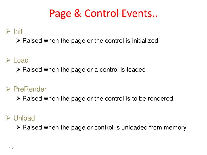 Page & Control Events..