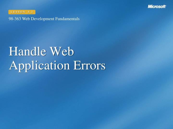 Handle web application errors
