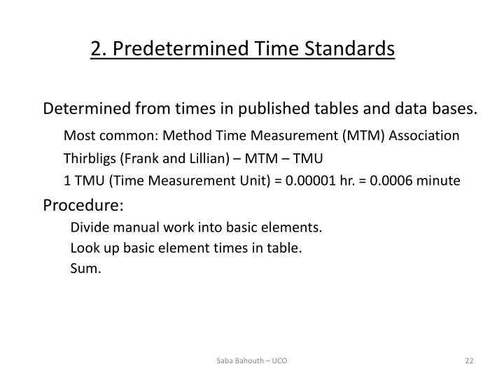 2. Predetermined Time Standards