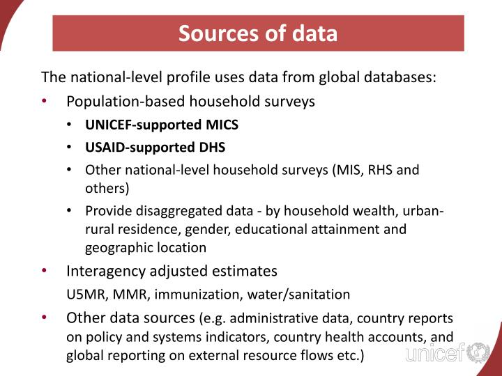 Sources of data