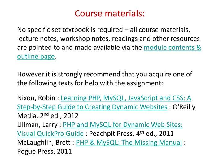 Course materials: