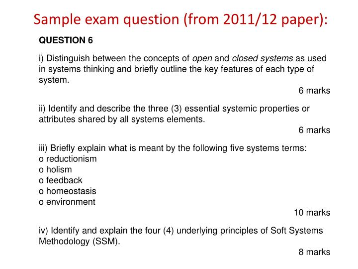 Sample exam question (from 2011/12 paper):