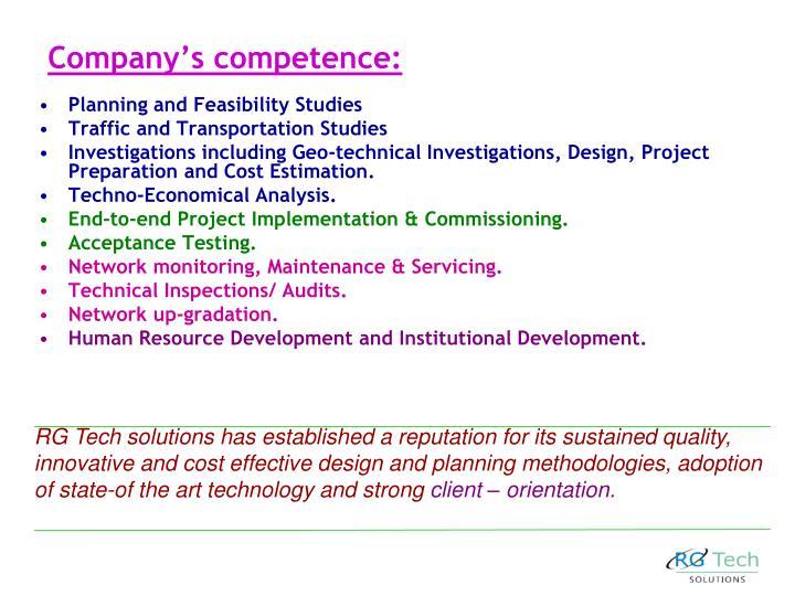 Company's competence: