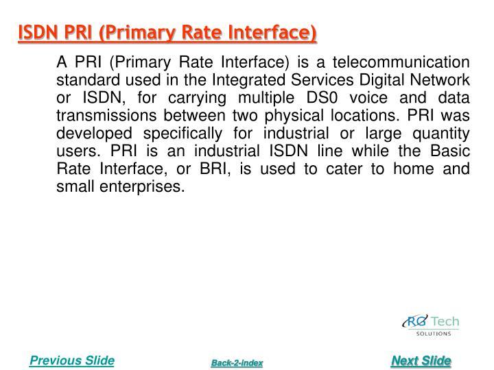 ISDN PRI (Primary Rate Interface)