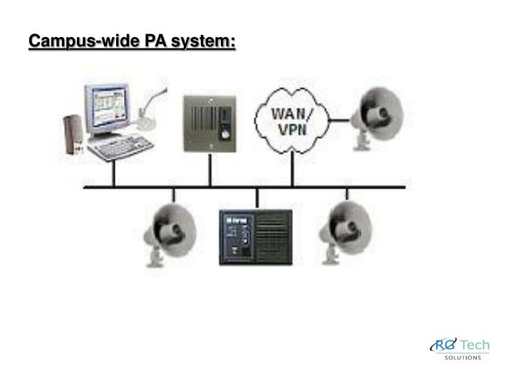 Campus-wide PA system: