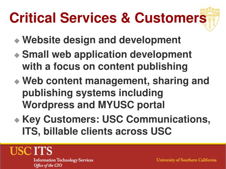 Critical Services & Customers