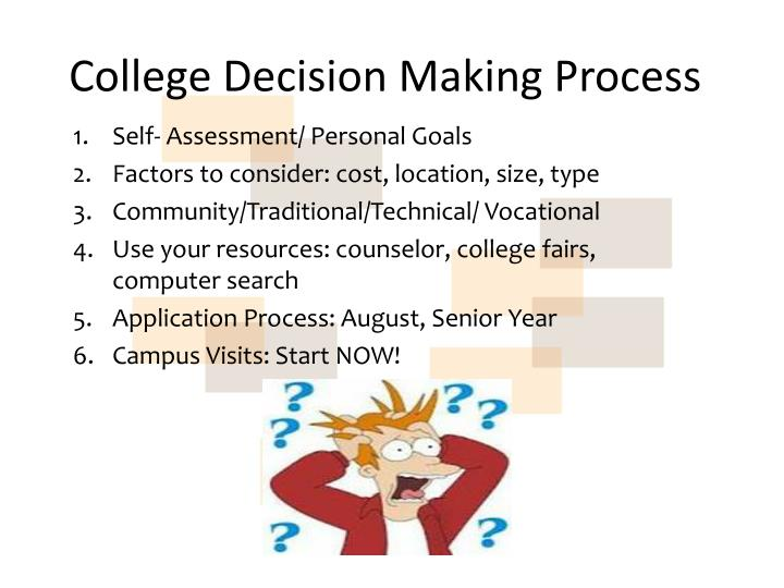 "decision making process for university choice Decision definition: 1 a choice that you make about meaning of ""decision"" in the english dictionary democratically legitimated decision-making process."
