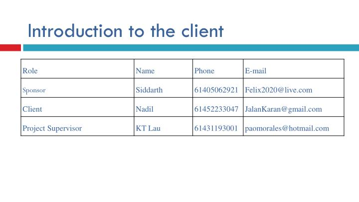 Introduction to the client