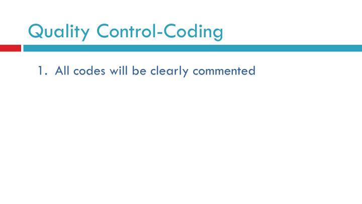 Quality Control-Coding