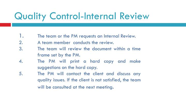 Quality Control-Internal Review