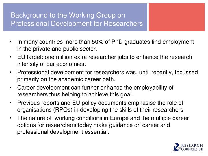 Background to the Working Group on Professional Development for Researchers