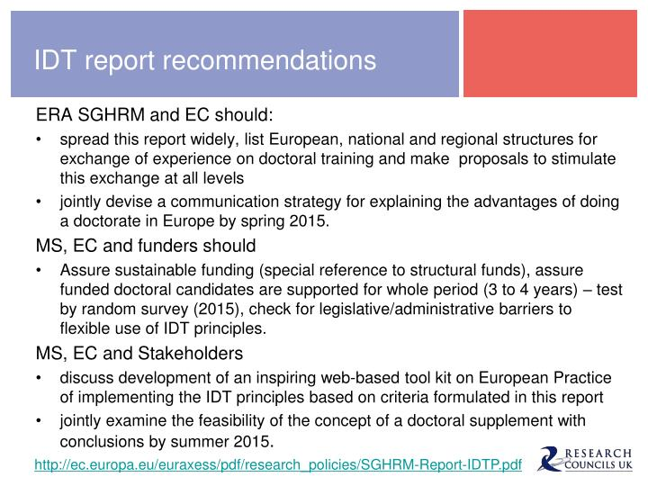 IDT report recommendations