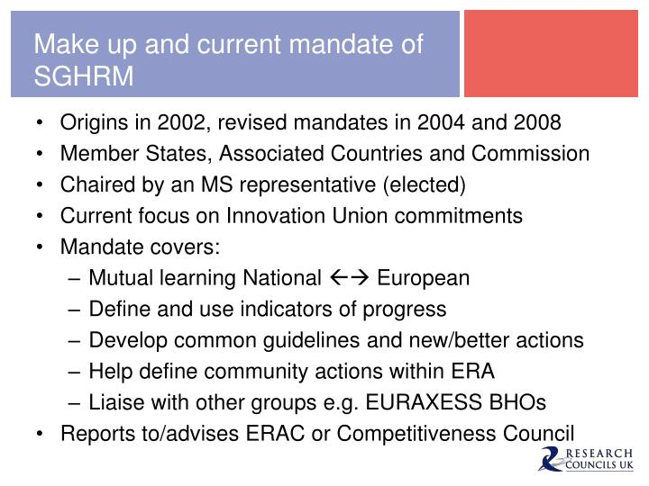 Make up and current mandate of SGHRM