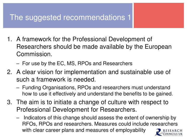 The suggested recommendations 1