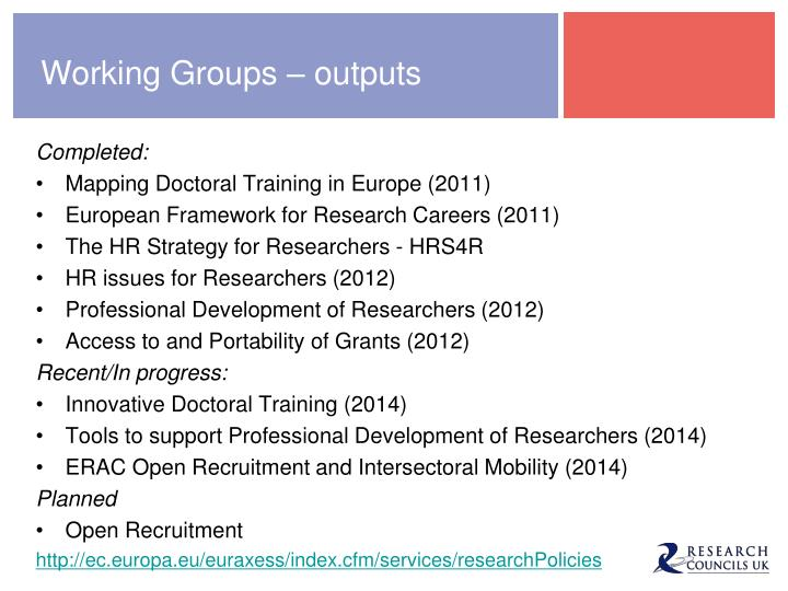 Working Groups – outputs