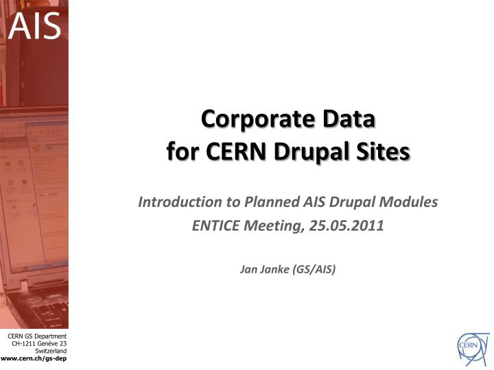 corporate data for cern drupal sites