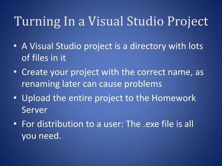 Turning In a Visual Studio Project