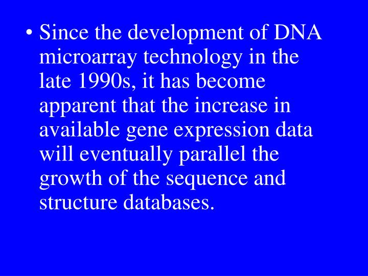 Since the development of DNA microarray technology in the late 1990s, it has become apparent that the increase in available gene expression data will eventually parallel the growth of the sequence and structure databases.