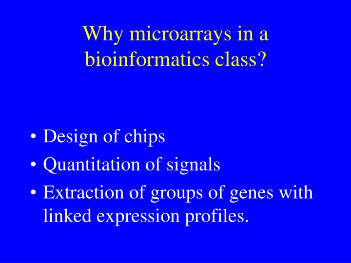 Why microarrays in a bioinformatics class?