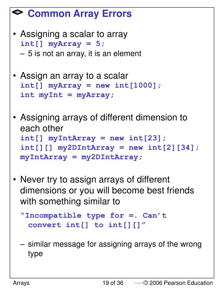 Common Array Errors