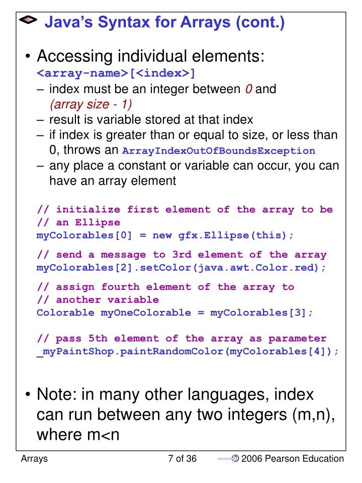 Java's Syntax for Arrays (cont.)