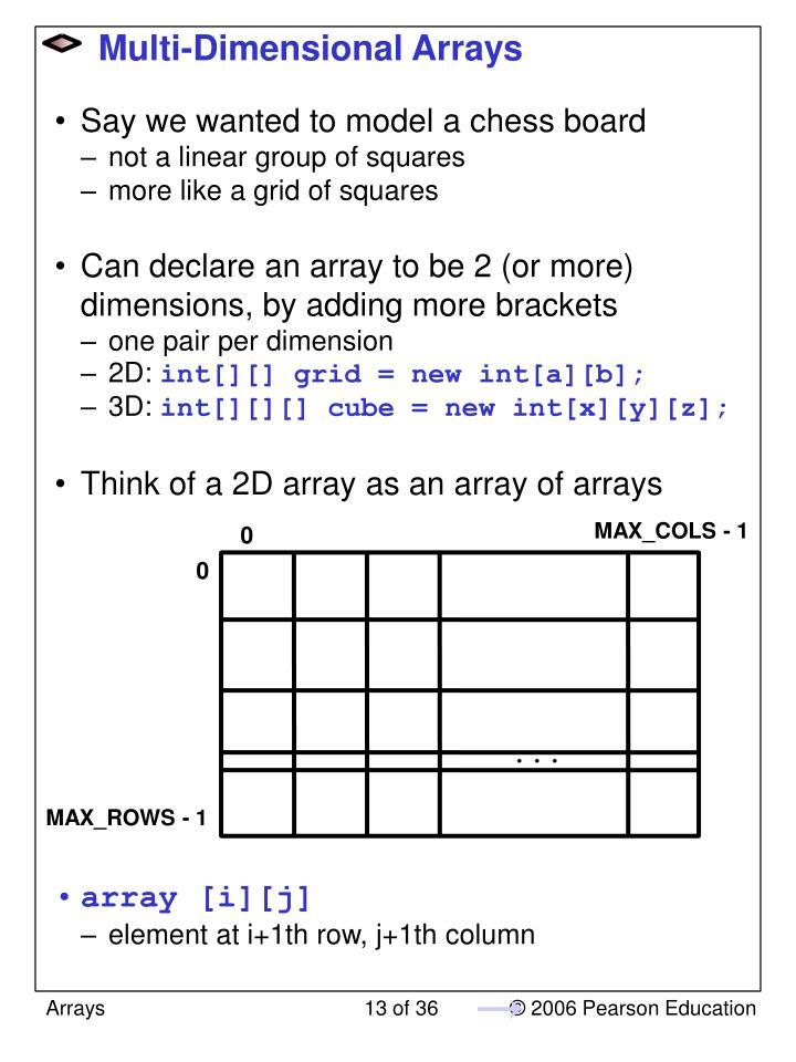 Multi-Dimensional Arrays