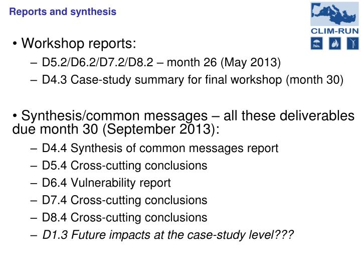 Workshop reports: