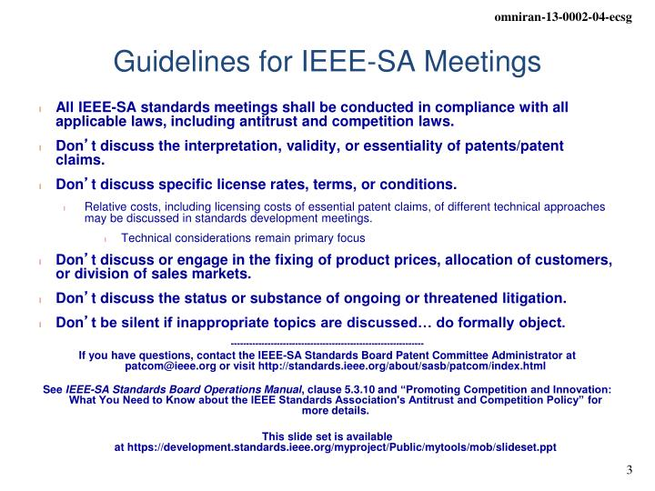 Guidelines for ieee sa meetings