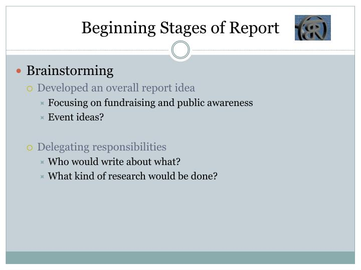 Beginning Stages of Report