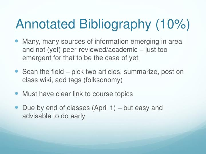 Annotated Bibliography (10%)