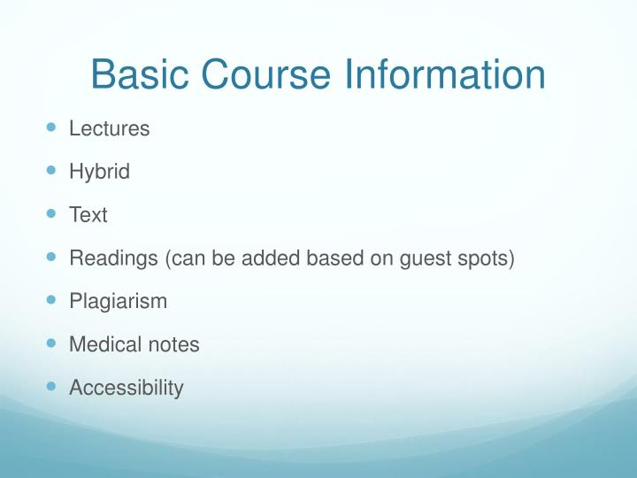 Basic Course Information
