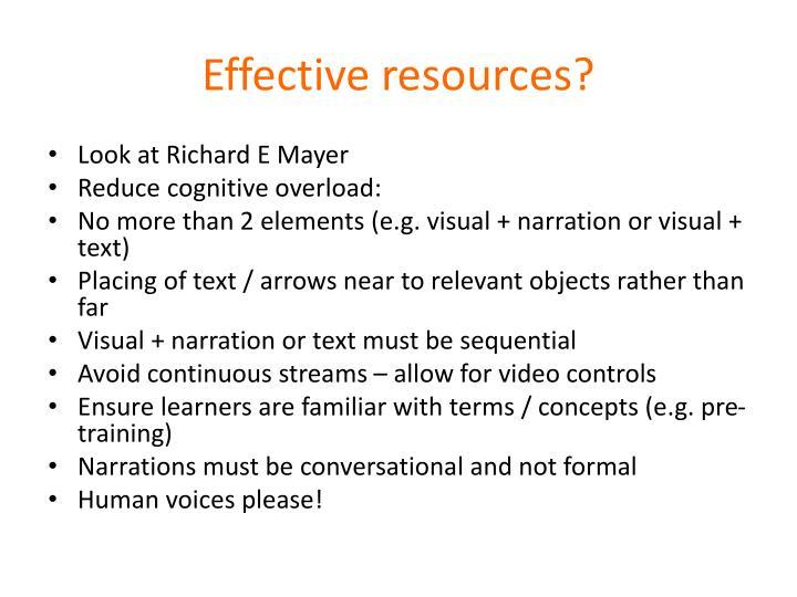 Effective resources?