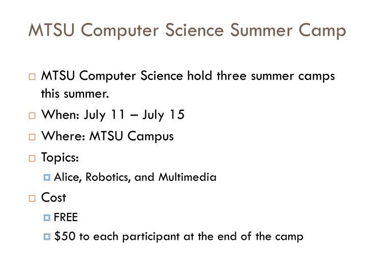 MTSU Computer Science Summer Camp