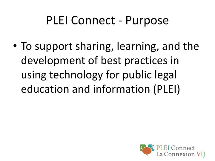 PLEI Connect - Purpose
