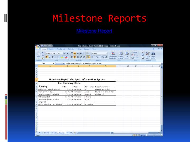 Milestone Reports